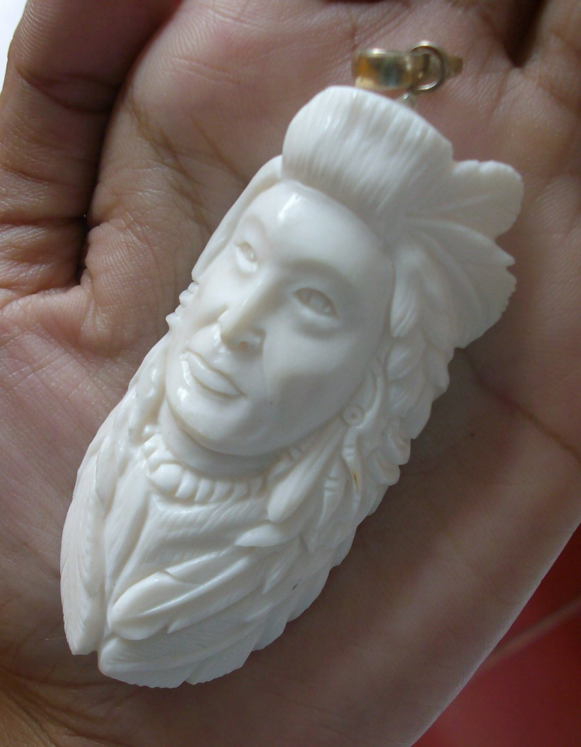 Bali Pendant Necklace INDIAN FACE Old From Buffalo Bone Carving With Silver Bail 925 #r171