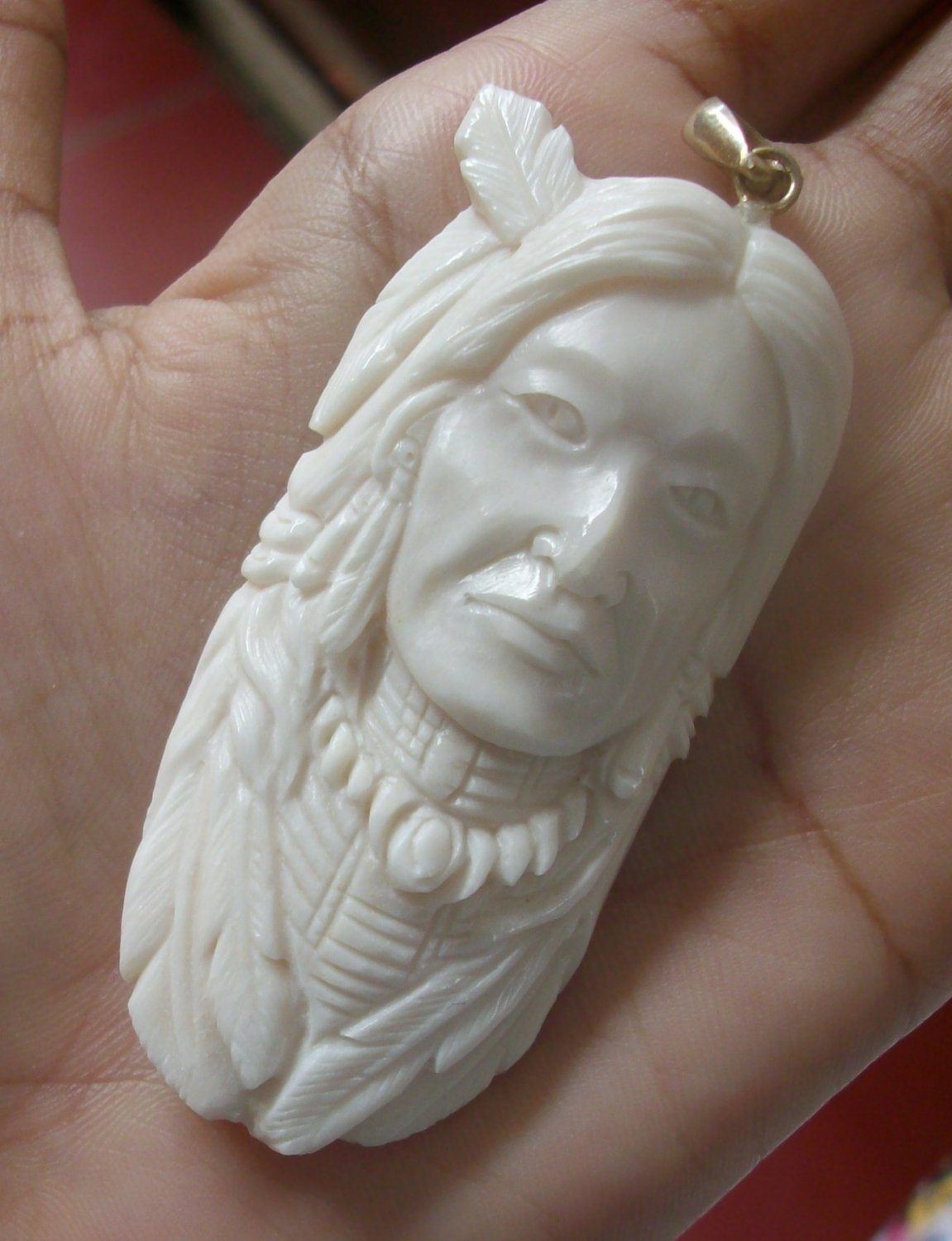 Bali Pendant Necklace INDIAN FACE Old From Buffalo Bone Carving With Silver Bail 925 #r170