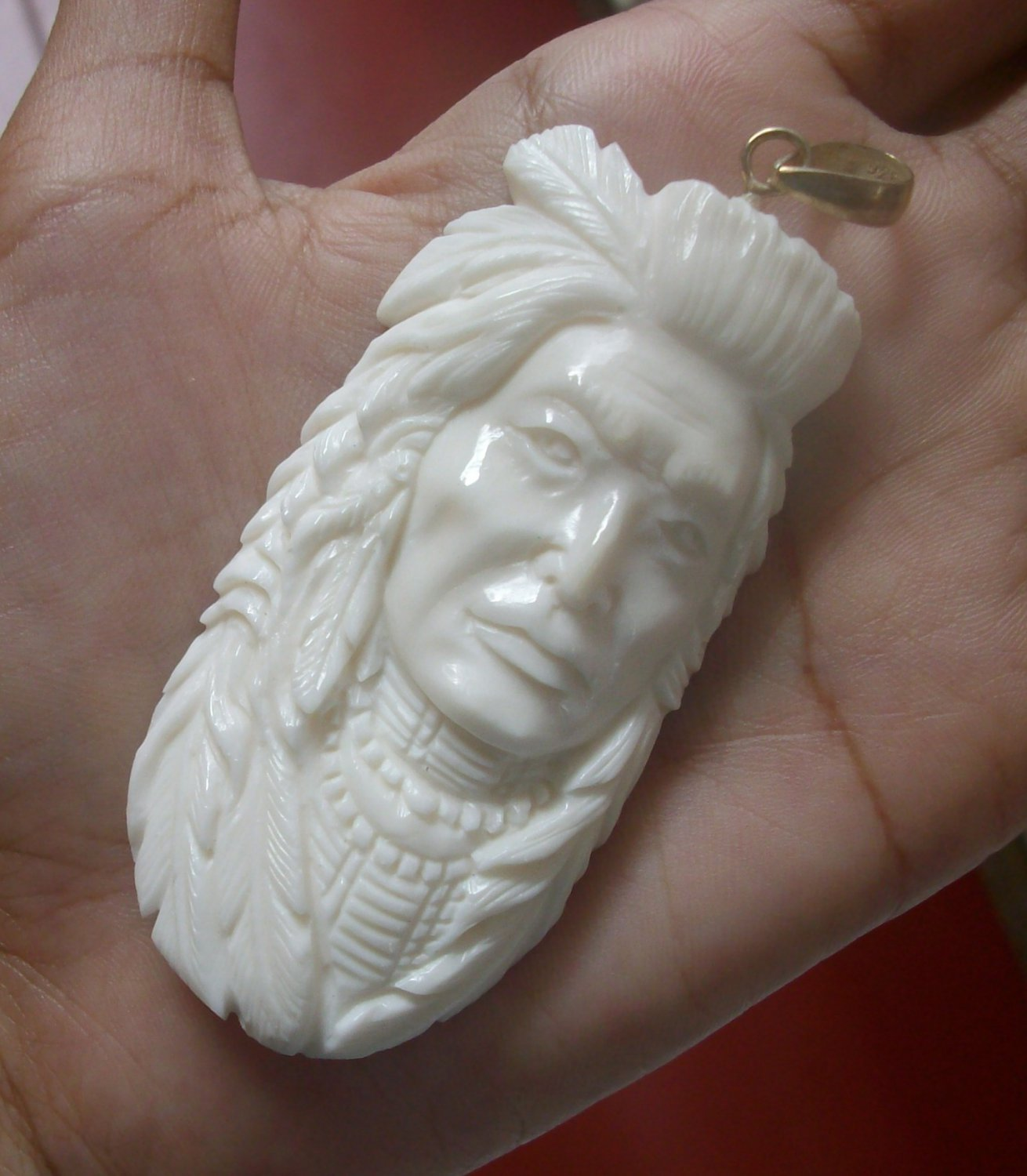 Bali Pendant Necklace INDIAN FACE Old From Buffalo Bone Carving With Silver Bail 925 #r168