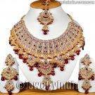 Jewellery Jodha Akbar Bollywood Kundan Jewelry Gold Tone Rich CZ Necklace Set JD12 Maroon