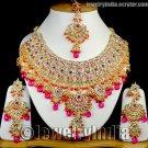 Jewellery Bollywood Style Indian Jewellery Kundan Gold Tone Rich CZ Necklace Set JD15 Magenta