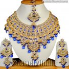 Indian Bollywood Bridal Necklace Jewelry Ethnic Kundan Gold Plated CZ Necklace  Blue JD13