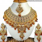 Ethnic Kundan Gold Plated Cubic Zirconia Indian Bollywood Jewelry Coffee JD22 Necklace Set