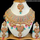 Jewelry Indian Necklace Ethnic Kundan Gold Plated CZ Necklace Jewellery Magenta-Turquoise