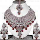 Silver Tone  CZ Jewellery Sterling Indian Bollywood Bridal Necklace Jewelry Set JD26 Maroon