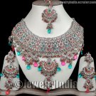 Magenta Turquoise Silver Plated Costume Jewellery CZ Sterling Indian designer Necklace Set JD36