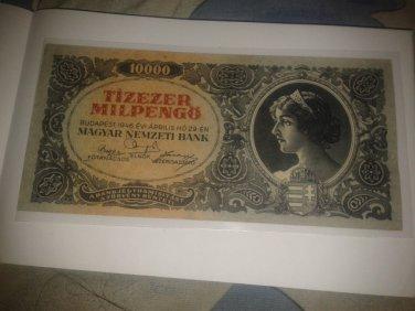 1946 Budapest Hungary Rare, 10000 MilPengo Hungarian Bank Note