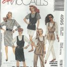 "McCall's ""Easy"" Patterns 4995-UNCUT-Size Ex-Small(6-8)Misses' Jumper, Tunic, Tops, Skirt& Pants"
