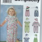 Simplicity Pattern 7064-UNCUT-Size A(half,1,2,3,4)Toddler's Romper and Hat in three Sizes S,M,L