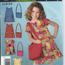 Simplicity Pattern 4927 - UNCUT- Size A (3-8)- Child's Dress and Bag