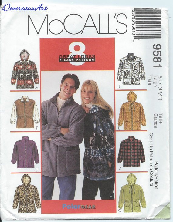 UNCUT- McCall's Pattern 9581- size Large (42-44) Unisex Jacket