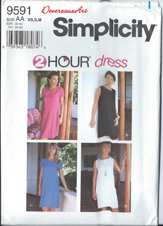 Simplicity Pattern 9591-Size AA (Xs,S,M) or (6-8-10-12-14-16) - Misses'/Miss Petite Dress