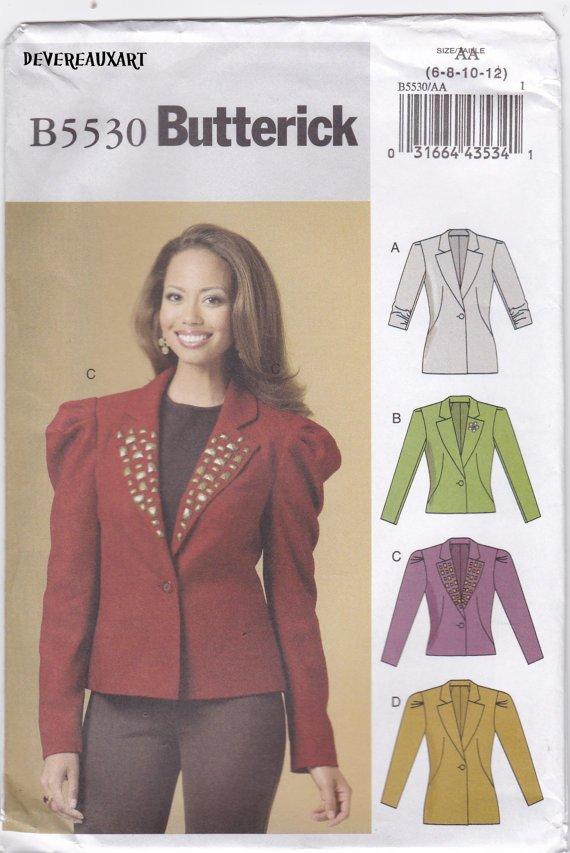 BUTTERICK Pattern B5530 -UNCUT-Size AA (6-8-10-12) - Misses' Lined Jackets