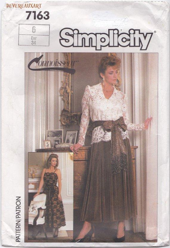 """Simplicity """"Connoisseur Collection"""" Pattern 7163 UNCUT-Size 6-Misses' Blouse, Camisole, Skirt & Sash"""