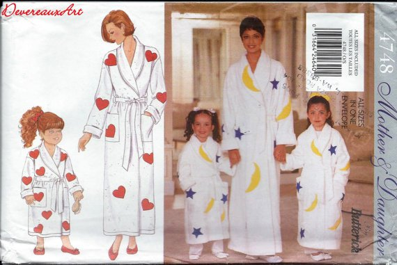 """Butterick """"Mother and Daughter"""" Pattern 4748 - Misses'/Children's/girl's Robe, Belt and Appliques"""