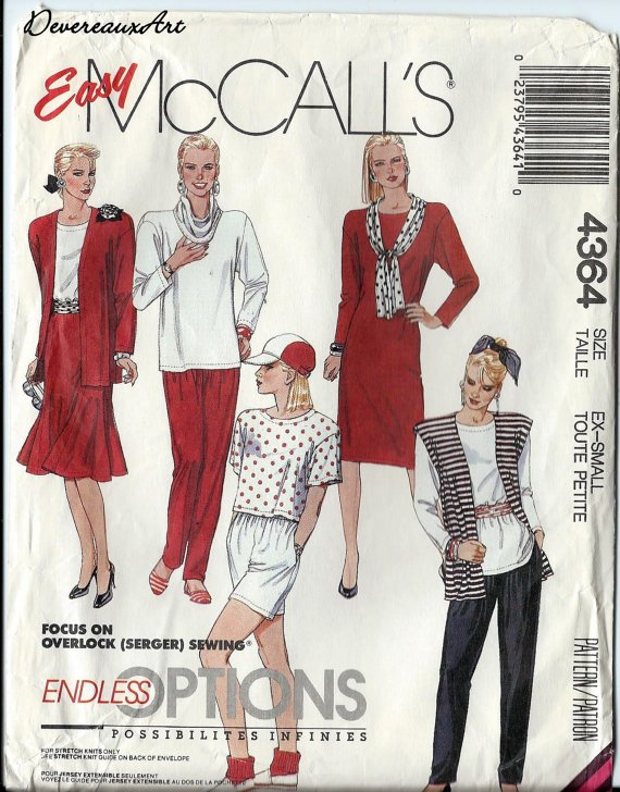 McCall's Pattern 4364-UNCUT-Size Ex-Sm-Unlined Jacket or Vest,Dress,Tunic,Tops,Skirt,Pants,Shorts...
