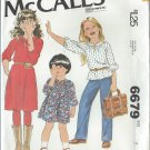 "1979 - McCall's ""Carefree"" Pattern 6679 - UNCUT - Size 7 - Children's and Girl's Dress or Top"