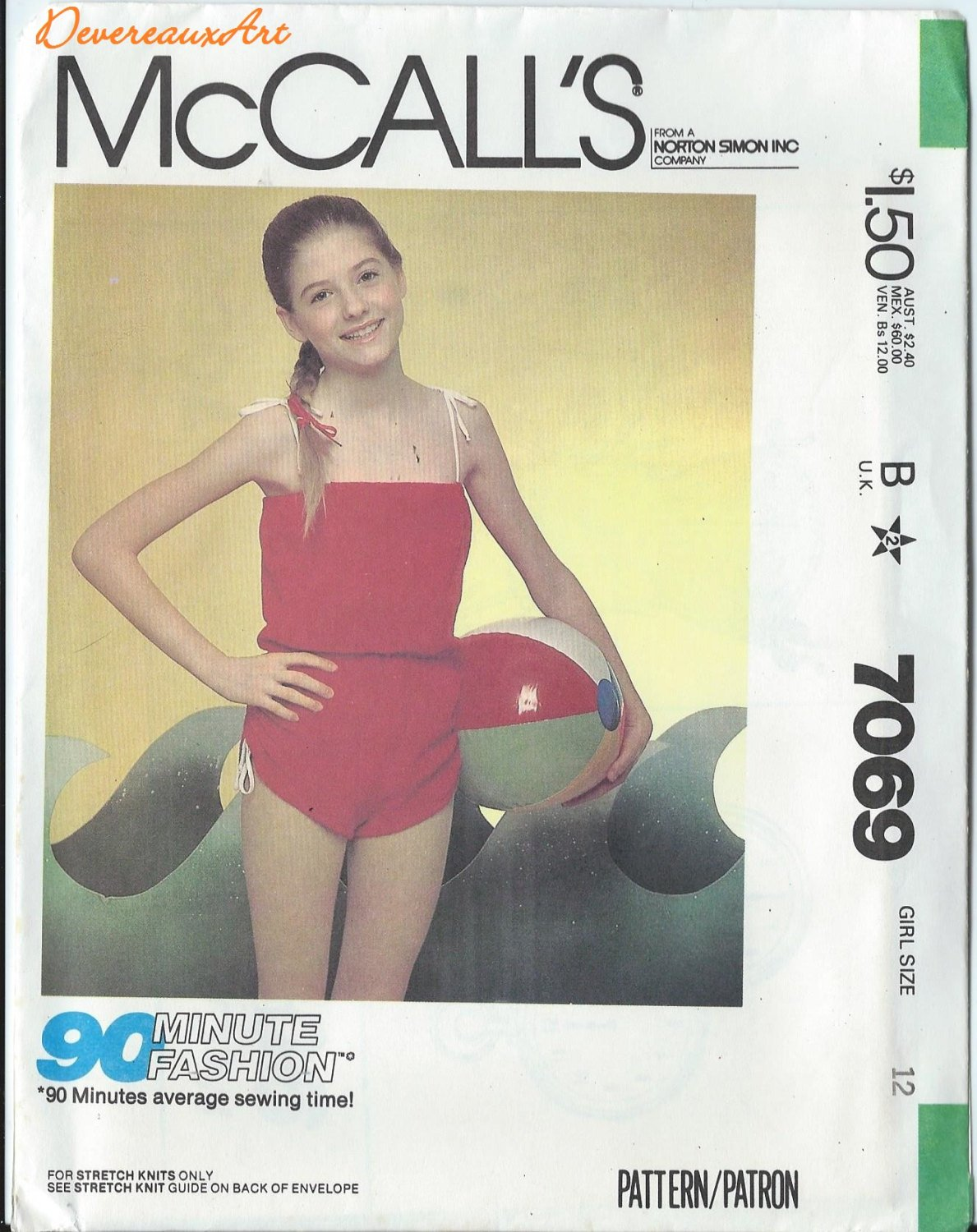 """McCall's """"90-Minute Fashion"""" Pattern 7069 - UNCUT - Size 12 - Girl's Playsuit"""