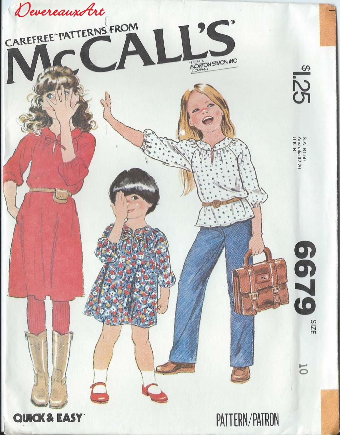 """1979 - McCall's """"Carefree"""" Pattern 6679 - UNCUT - Size 10 - Children's and Girl's Dress or Top"""