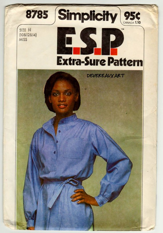 """1978 Simplicity """"E.S.P"""" Pattern 8785 - UNCUT - Miss Size N (10-12-14) Pullover Blouse and Tie Belt"""