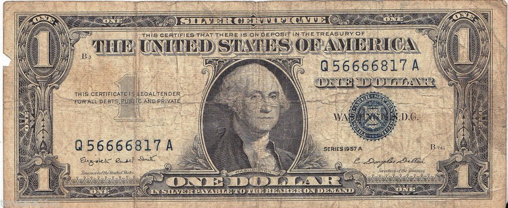 1957-A Silver Certificate $1.00 Silver note Crisp One Dollar Blue Seal