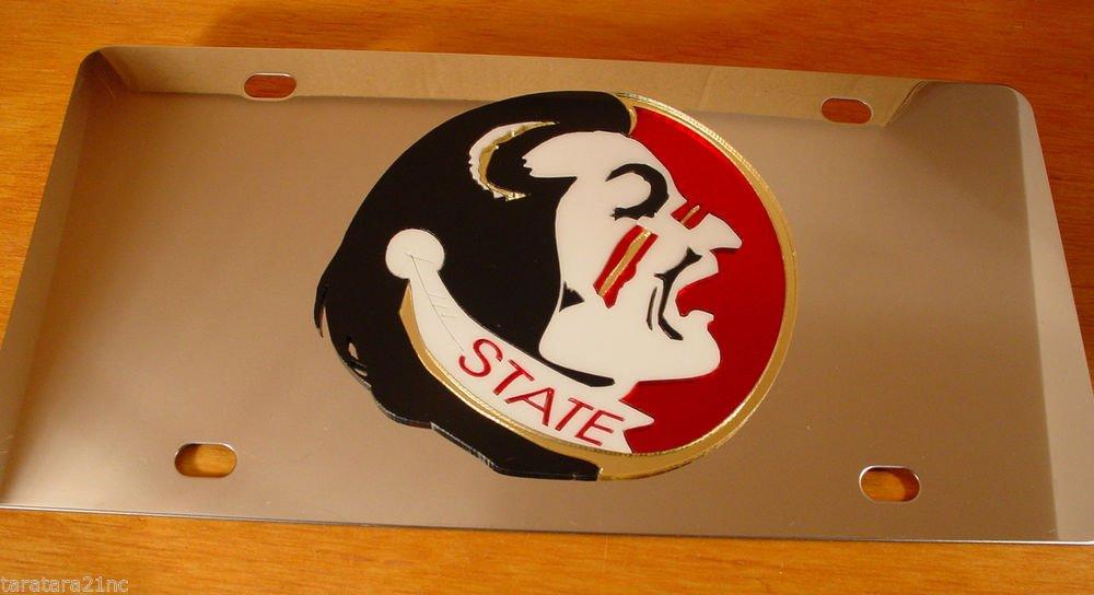 Florida State Seminoles Stainless Vanity License Plate Heavy Guage Mirror Finish