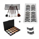 15 Beauty Colors Concealer Makeup Palette + False Eyelashes (10 Pairs) + Makeup Brushes Set