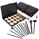 Concealer Palette Beauty 15 Color Camouflage with 12pcs Makeup Brush Set