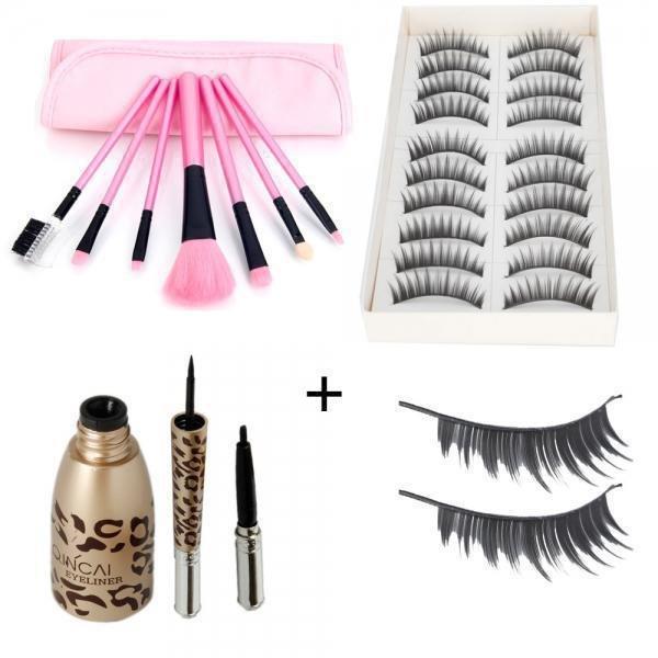 10 Pairs Long False Eyelashes 7pcs Makeup Brush Set Beauty Bag Waterproof Liquid Eyeliner Pen