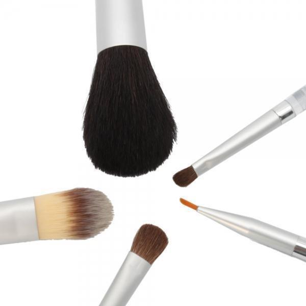 Makeup Brush Set Beauty 5 pcs Cosmetic with Transparent Acrylic Handle