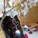 nalional style blue and white porcelain bead earrings