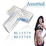 100pcs Assorted Professional Sterilized Tattoo Needles RL RS