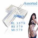100pcs Assorted Professional Sterilized Tattoo Needles RL RS M1