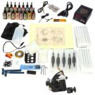 1 Gun Tattoo Machine Kit Beginner Machine LCD Power Supply 15 Inks TM120103