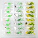 24 Pcs Frog Shape Metal and Rubber Soft Bait with Hook Green & Yellow