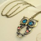 Fashion Three-colour Rhinestone Owl-shaped Pendant Long Chain Necklace