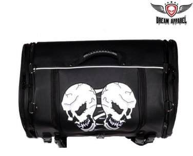 Motorcycle Sissy Bar Bag - Trunk Style Bag with Skull