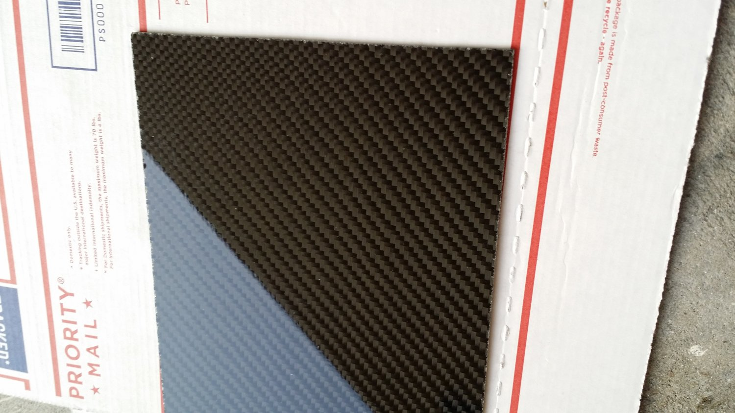 "Carbon Fiber Panel 18""x36""x1/8"" Both Sides Glossy"