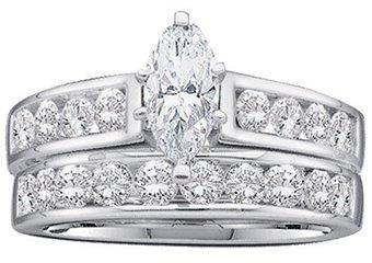 WOMENS DIAMOND ENGAGEMENT RING WEDDING BAND BRIDAL SET 1 CARAT MARQUISE CUT