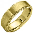 MENS WEDDING BAND ENGAGEMENT RING YELLOW GOLD SATIN FINISH MILGRAIN 6mm