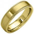 MENS WEDDING BAND ENGAGEMENT RING YELLOW GOLD SATIN FINISH MILGRAIN 5mm