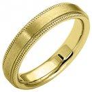 MENS WEDDING BAND ENGAGEMENT RING YELLOW GOLD SATIN FINISH MILGRAIN 4mm