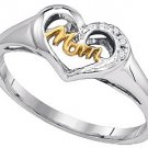 DIAMOND RING MOTHERS DAY GIFT MOM STERLING SILVER TWO-TONE