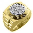 MENS 1.25 CARAT BRILLIANT ROUND CUT SHAPE DIAMOND RING 14K YELLOW GOLD