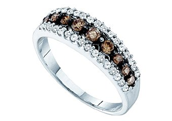 WOMENS BROWN CHAMPAGNE DIAMOND WEDDING BAND RING WHITE GOLD