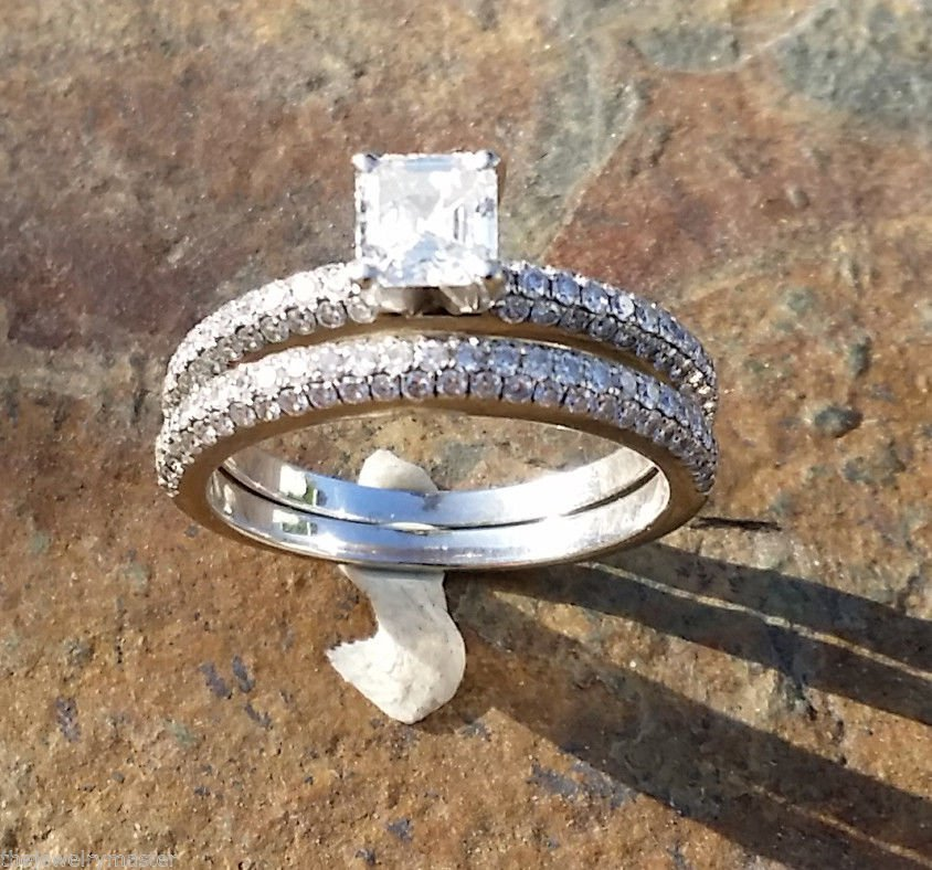 Diamond Engagement Ring Wedding Band Set Micro Pave Asscher Round 14k White Gold
