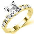 1.6 CARAT WOMENS DIAMOND ENGAGEMENT WEDDING RING ASSCHER CUT SHAPE YELLOW GOLD