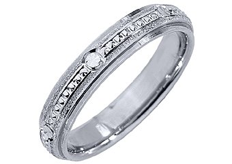 MENS WEDDING BAND ENGAGEMENT RING 14KT WHITE GOLD HIGH GLOSS FINISH 4mm