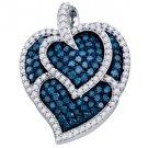 1.05 Carat Blue Diamond Heart Pendant Brilliant Round Cut Micro Pave White Gold
