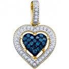 .21 Carat Blue Diamond Heart Pendant Brilliant Round Cut Micro Pave Yellow Gold